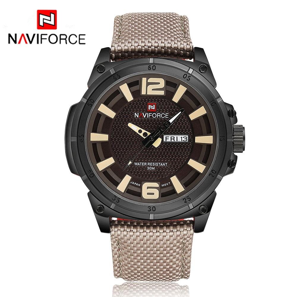 NAVIFORCE Original Luxury Brand Men Sports Military Quartz Watch Man Analog Date Clock Nylon Strap Wristwatch Relogio Masculino