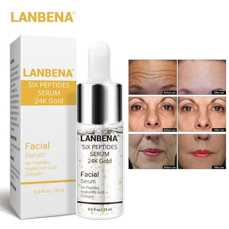 LANBENA Six Peptides Serum Pure 24K Gold Essence Hyaluronic Acid Facial Collagen Face Skin Care 15ml Anti-Aging Whitening