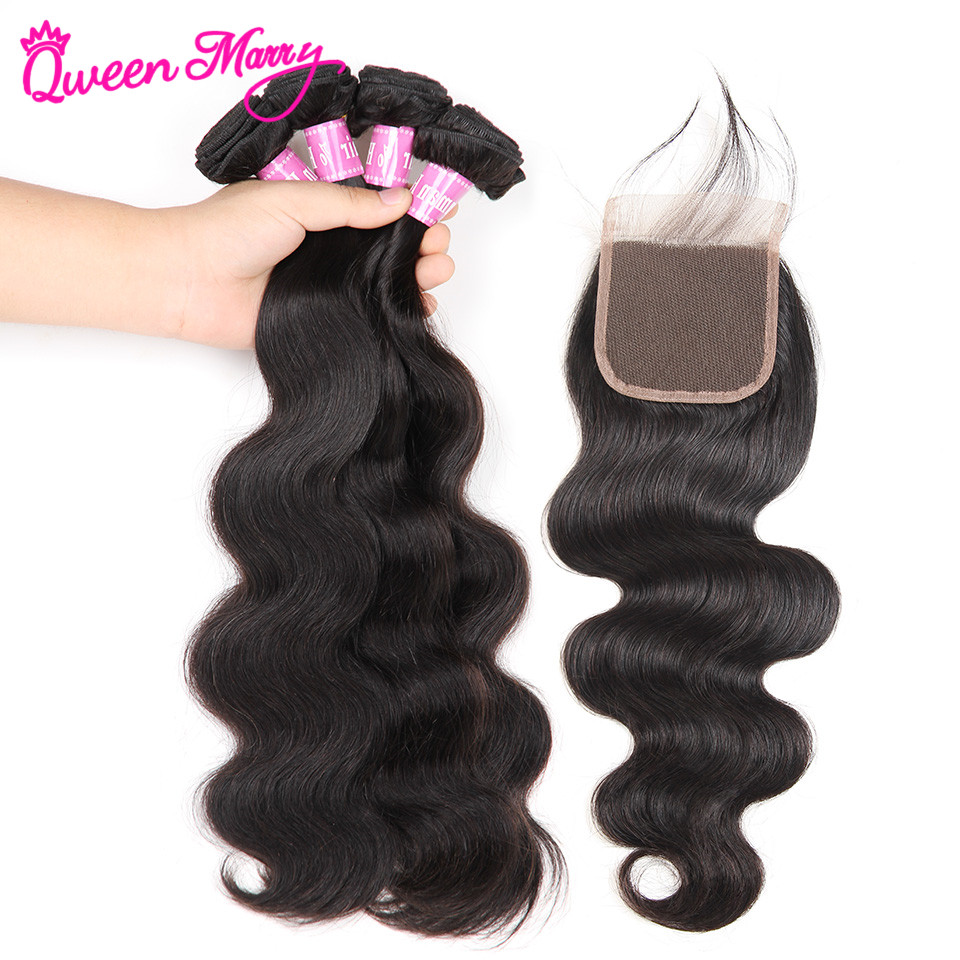 Peruvian Body Wave Bundles With Closure Human Hair Bundles With Closure Peruvian Hair 3 Bundles With Closure Queen Mary Hair ...