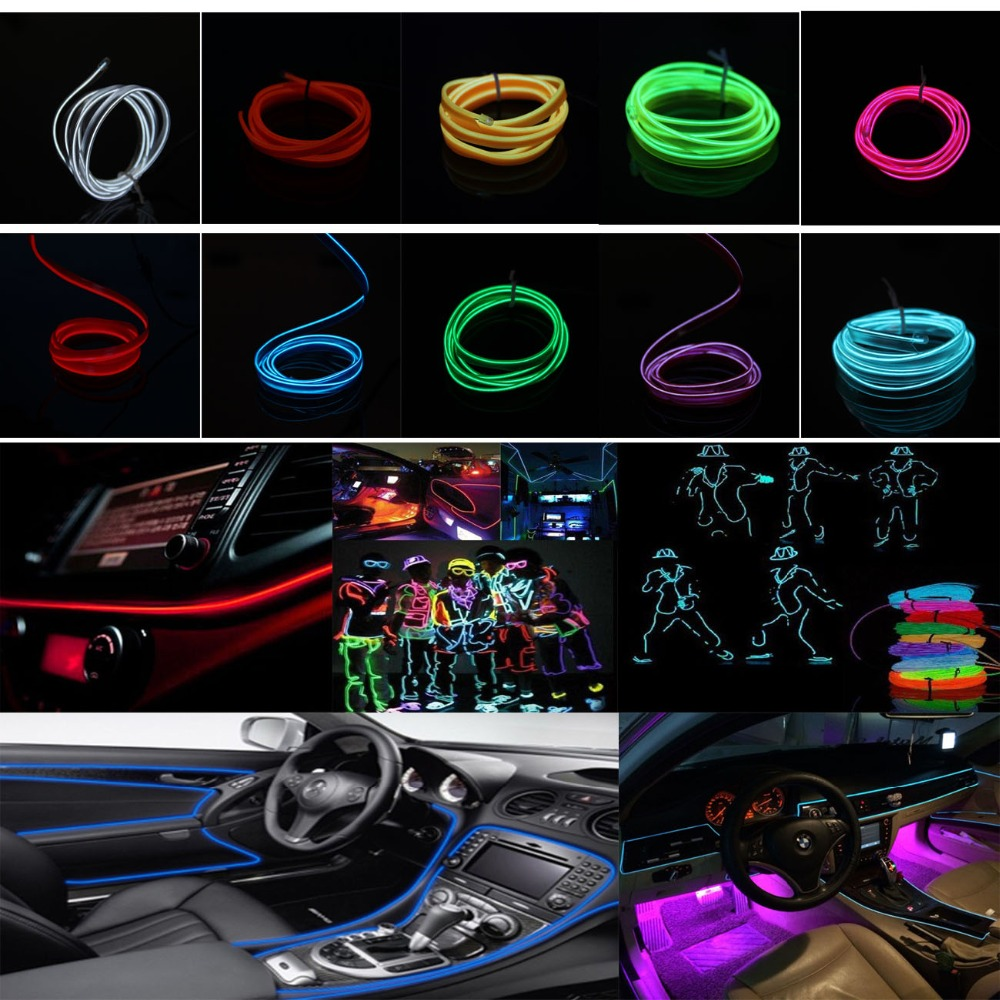 POSSBAY 2M 110V LED Flexible Neon Light Glow EL Wire Rope Tube Car ...