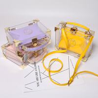2018 Spring and Summer New Candy Color Transparent Crystal Jelly Bag Single Shoulder Small Boxes Messenger Fashion Elegant