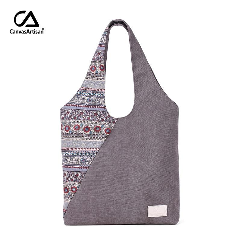 Canvasartisan 2018 new women handbag canvas floral vintage female shoulder bag retro leisure tote hand bags