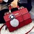 2016 женщина сумки Дизайнеры сумки женщины известные бренды Геометрическая шить мешок Бостон женская Сумка PU кожаные сумки ручной