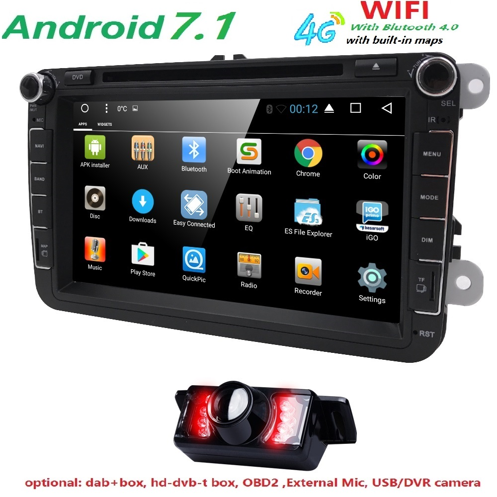 Android 7.1 7 2din Car DVD for VW POLO GOLF 5 6 POLO PASSAT B6 CC JETTA TIGUAN TOURAN EOS SHARAN SCIROCCO CADDY with 4GGPS Navi bluetooth link car kit with aux in interface & usb charger for vw bora caddy eos fox lupo golf golf plus jetta passat polo