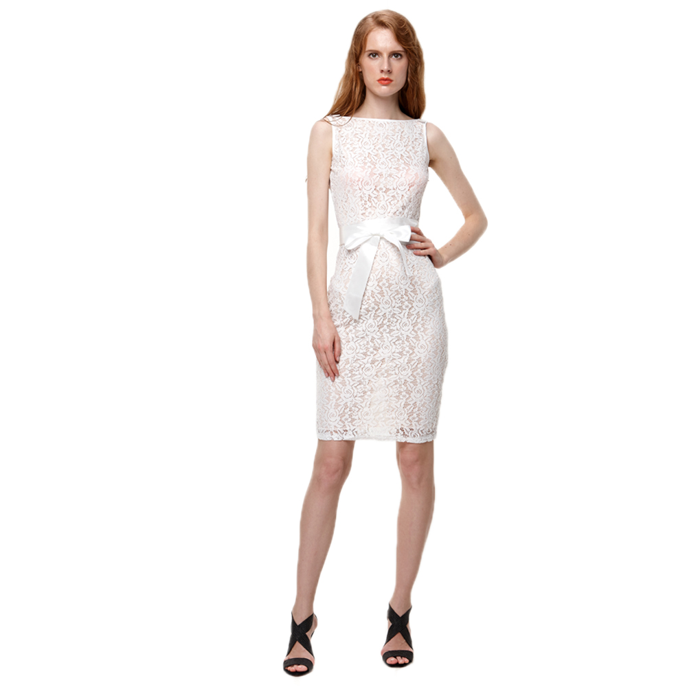 Women Lace Sheath Bodycon Dress Summer Boat Neck Sleeveless Champagne Party Sashes Belted Office Pencil Dresses