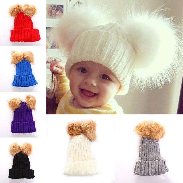 теплая вязаная шапка для новорожденных милая шерстяная шапка с