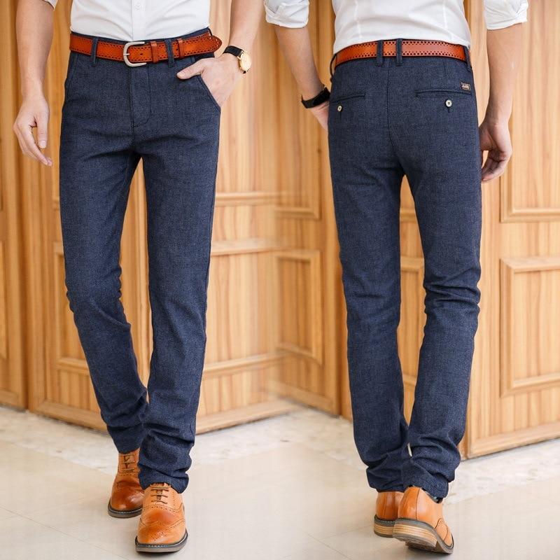 Natural Cotton Linen Trousers Male Classic Formal Pants Social Casual Fashion Elastic Business Men's Long Pants Autumn Clothes