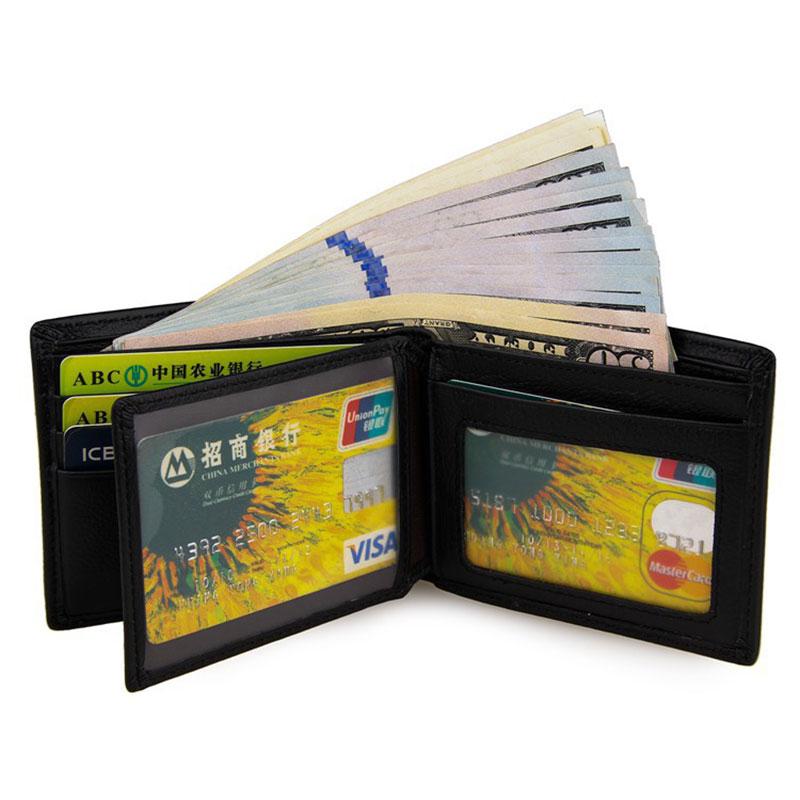 цена Classic Black Genuine Leather Male Slim Wallet First Layer Cowhide Men Short Purse Multi-Card Billfold Notecase PR088087A онлайн в 2017 году