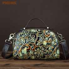 PNDME vintage handmade embossed genuine leather ladies handbag fashion designer high quality womens shoulder crossbody bags