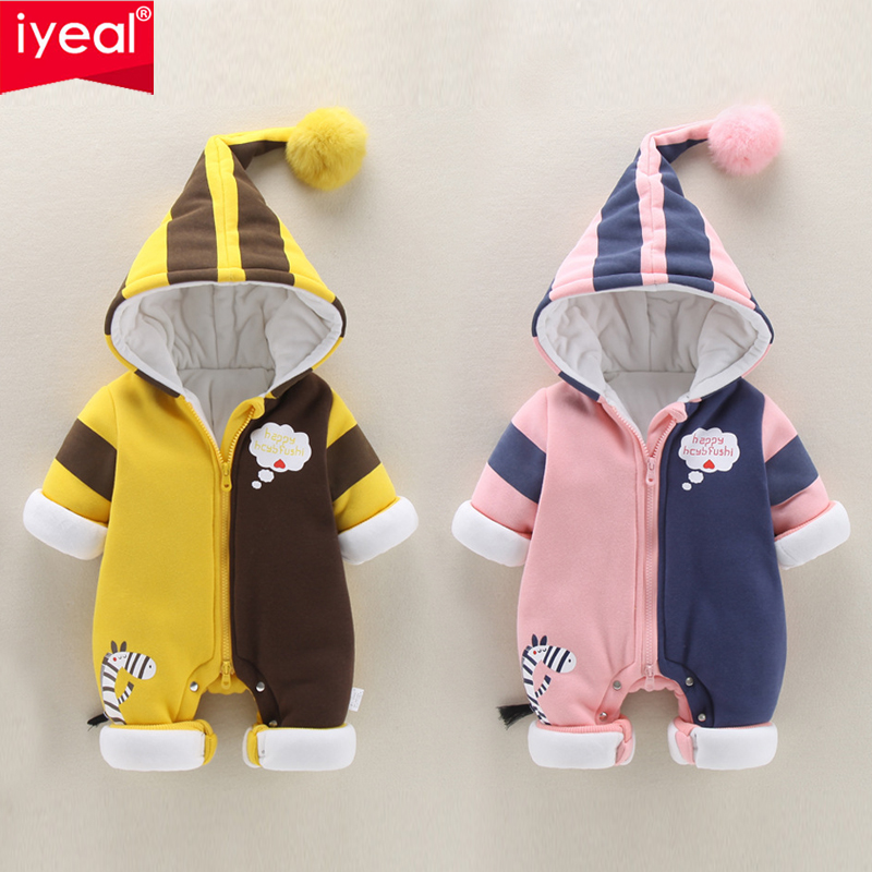 IYEAL Winter Warm Baby Clothes Fashion Infant Romper Baby Boys Girls Jumpsuit for Newborn Cotton Hooded Toddler Baby Costumes newborn baby boys girls fleece romper christmas santa claus printed hooded jumpsuit long sleeved cotton romper warm clothes