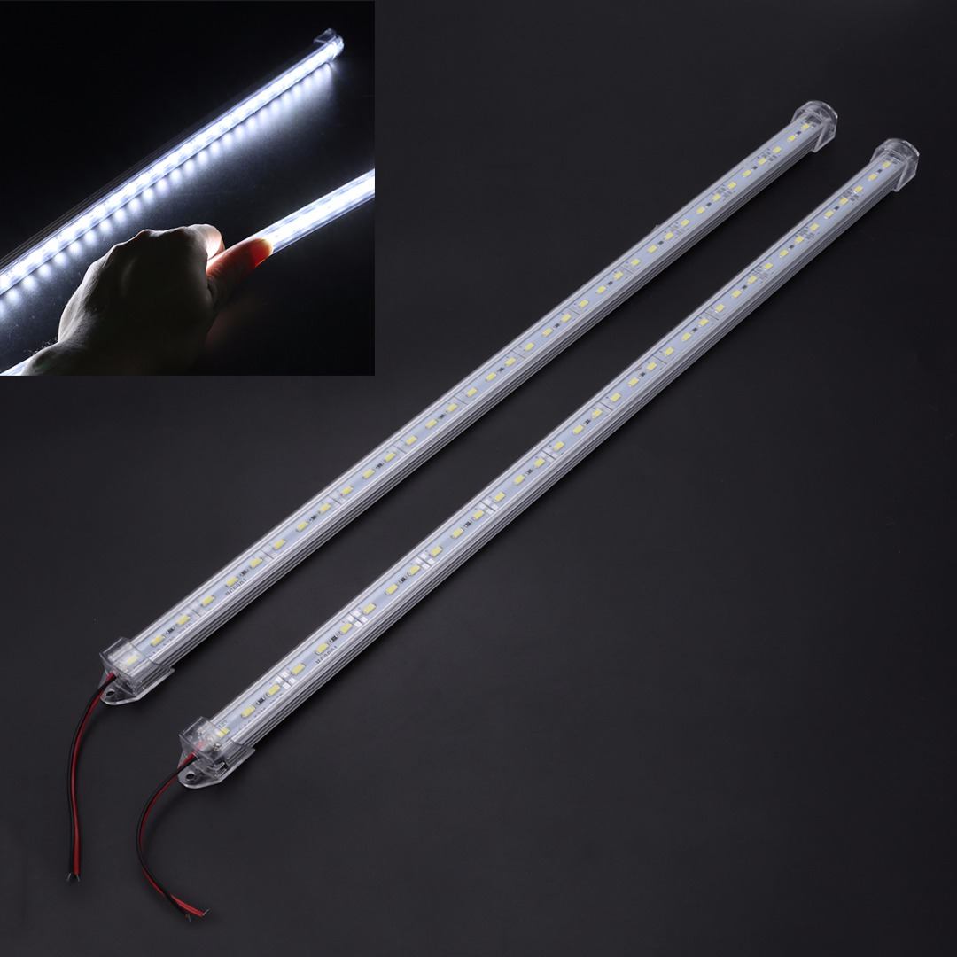 2pcs 50cm 5630 36LED 12V DC Car Interior Strip Light Bar Van Caravan Cold White Strip Light