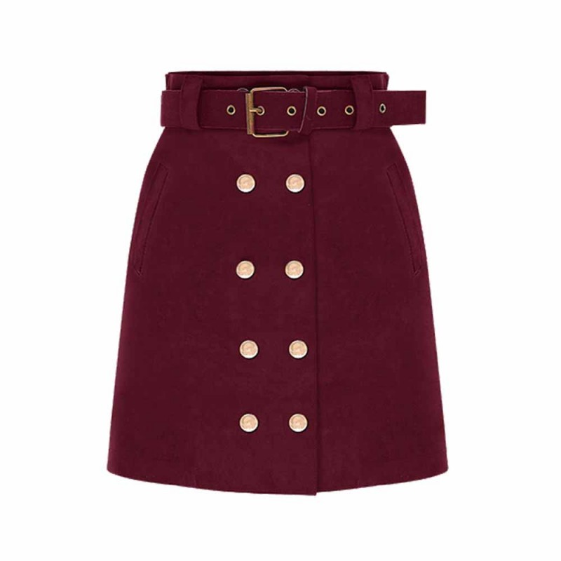 2018 Fashion Double Breasted Suede Winter Autumn Skirts Slim Waist Bodycom Ladies Pencil Skirts High Waist Women Casual SkirtC