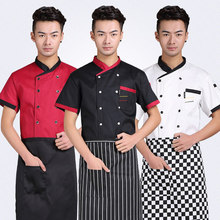 Free Shipping Cook suit short-sleeve chef uniform checkedout chef jacket cheapest chef shirt restaurant tops hotel uniform
