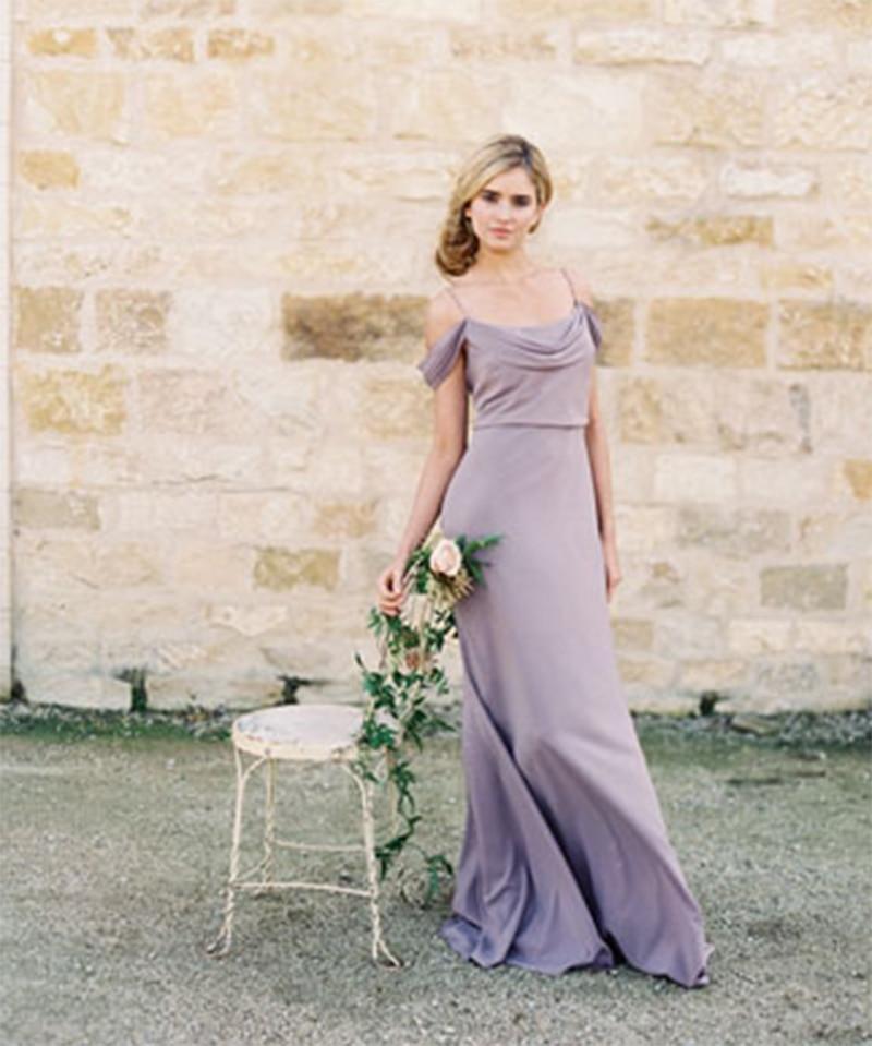 Einfache Elegante Lavendel Brautjungfernkleider Lange Erröten ...