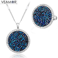 VEAMOR Pave Crystals Round Necklace Ring Jewelry Sets White Gold Color Luxury Party Women Jewelry Made