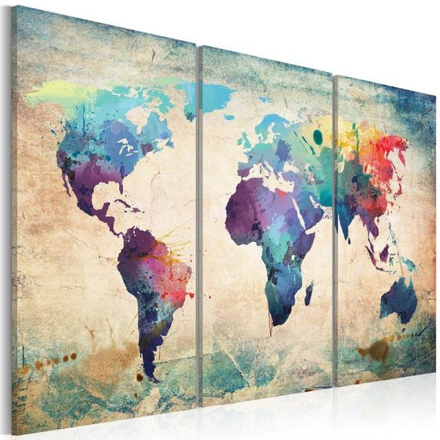 Fashion environmental professional canvas triple world map hanging fashion environmental professional canvas triple world map hanging on the wall without frame gumiabroncs Choice Image