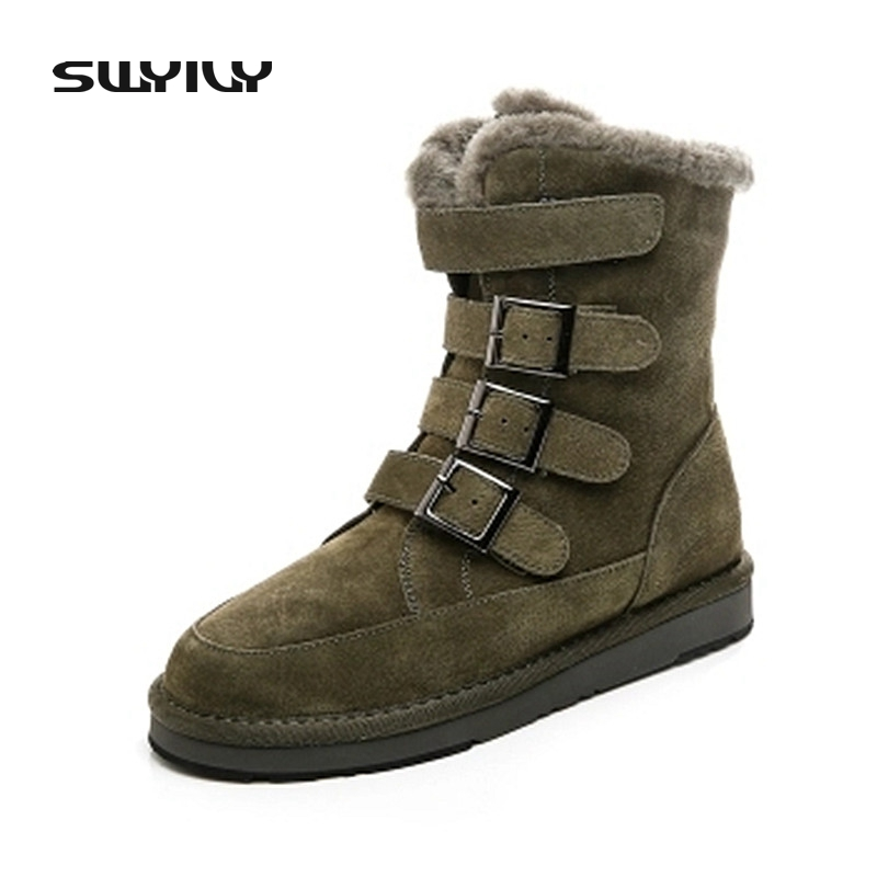 SWYIVY Genuine Leather High Top Winter Fur Ankle Boots 2017 Army Green Middle Tube Snow Boots Women Female Warm Leather Shoes fedonas top quality winter ankle boots women platform high heels genuine leather shoes woman warm plush snow motorcycle boots