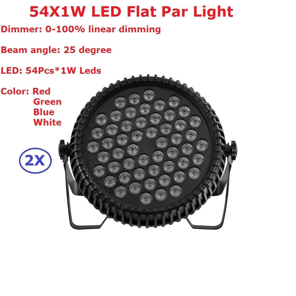 2Pack Flat LED Par 54X1W RGBW Quad Color LED Stage Par Lights 110-240V For Discos Music Light Disco Bulb effetto luci discoteca