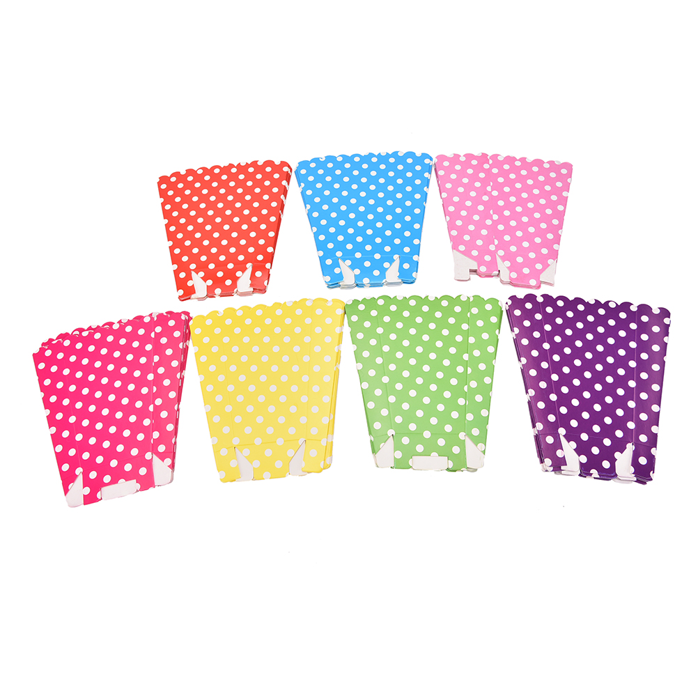 6pcs/lot Wave Circles Pattern Folding Candy Popcorn Boxes
