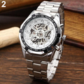 Hot Men's Stainless Mechanical Watch Steel Hand-Winding Skeleton Automatic and Sport Wrist Watch  4ZVK