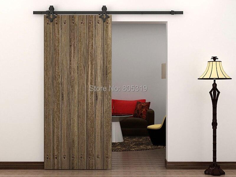 6 6ft american style sliding barn door hardware black in for Sliding glass doors 6ft