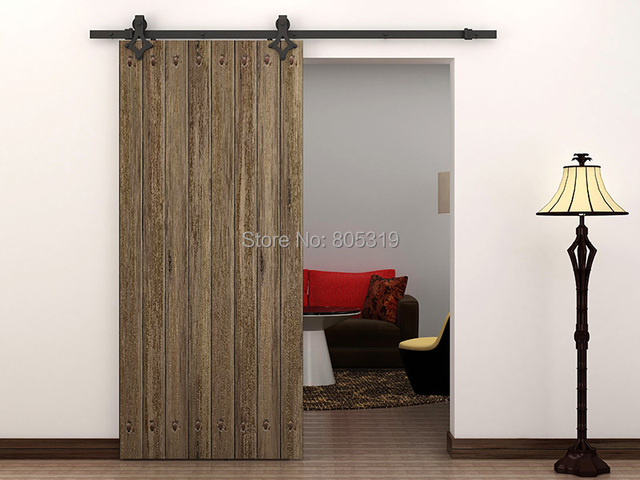 6.6FT American Style Sliding Barn Door Hardware(black)