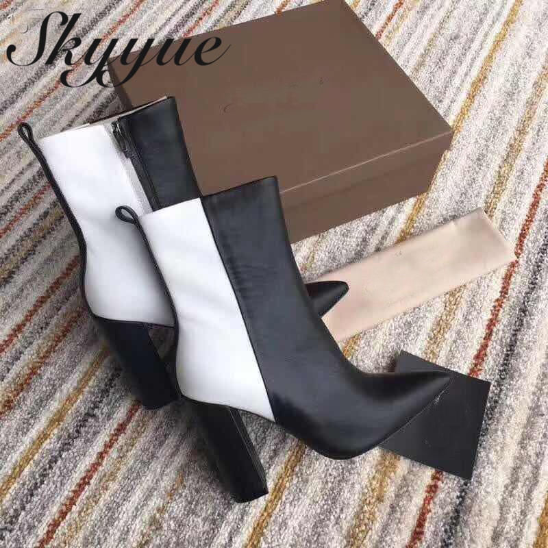 SKYYUE New Genuine Leather Zip Side Women Winter Boots Sexy Pointed Toe 11cm Chunky Heel Women Ankle Boots Shoes Women 2018 new arrival denim ripped ankle boots sexy pointed toe winter boots female footwear women s high strange heel shoes side zip