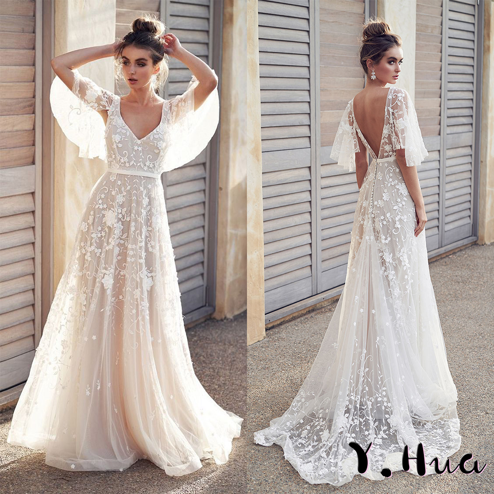 Y.Hua Flowers   Evening     Dress   Lace V-Neck Backless Elegant Long   Evening   Gown 2019 vestidos de fiesta de noche