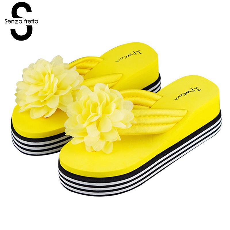 Senza Fretta Women Shoes Flowers Wedges Flip Flops Sweet Flower Sandals Woman Sandals Platform Beach Flip Flops Women Slippers sweet women s sandals with color block and flower design