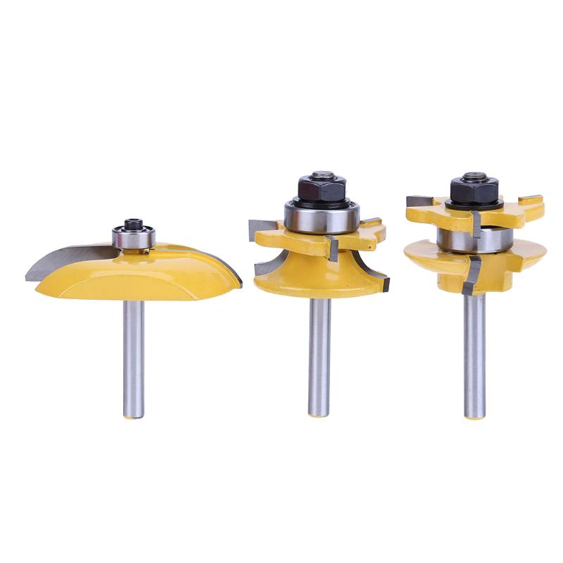3pcs Hard Alloy 1/4'' Wood Milling Cutter Round Rail And Stile Router Bits Set Cove Raised Panel Tools Cutting Endmill