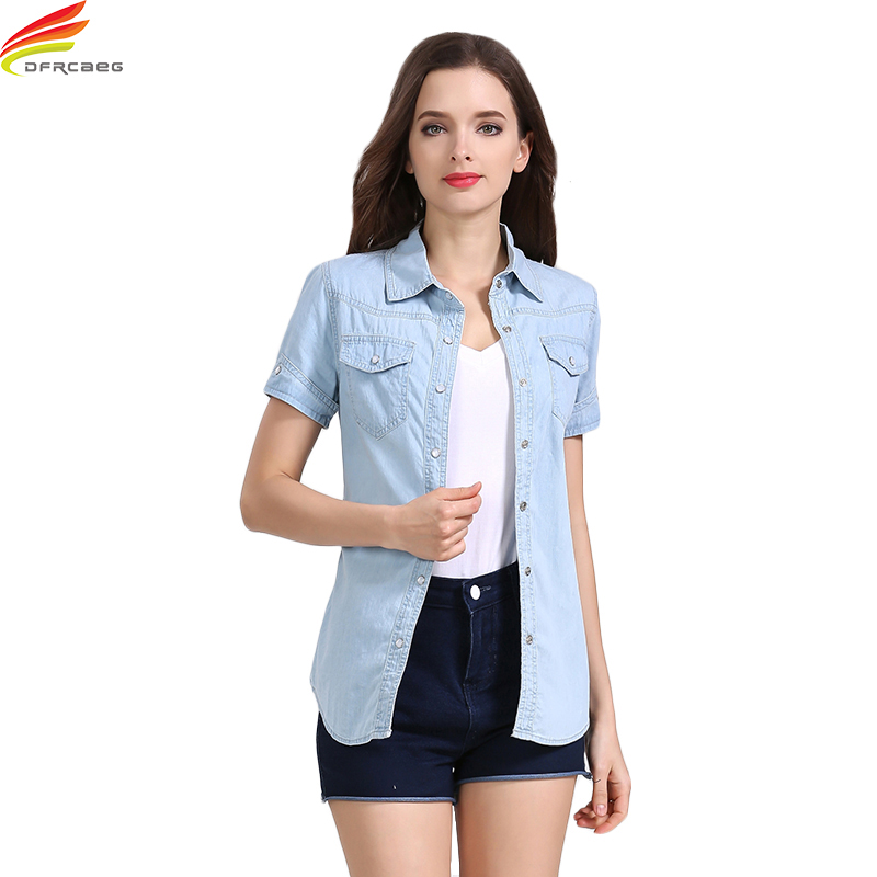 Denim Shirts Women 2018 Summer New Short Sleeve Double Pockets Casual Jean Shirt Women 2 Colors Slim Elegant Summer Top Woman