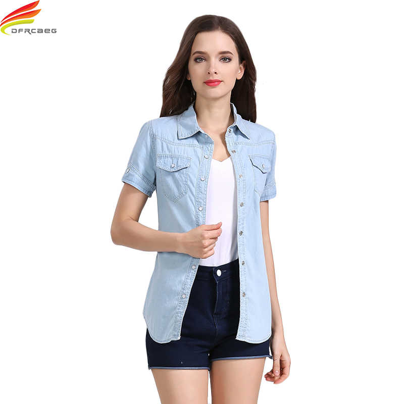 4579d09738 Denim Shirts Women 2018 Summer New Short Sleeve Double Pockets Casual Jean  Shirt Women 2 Colors