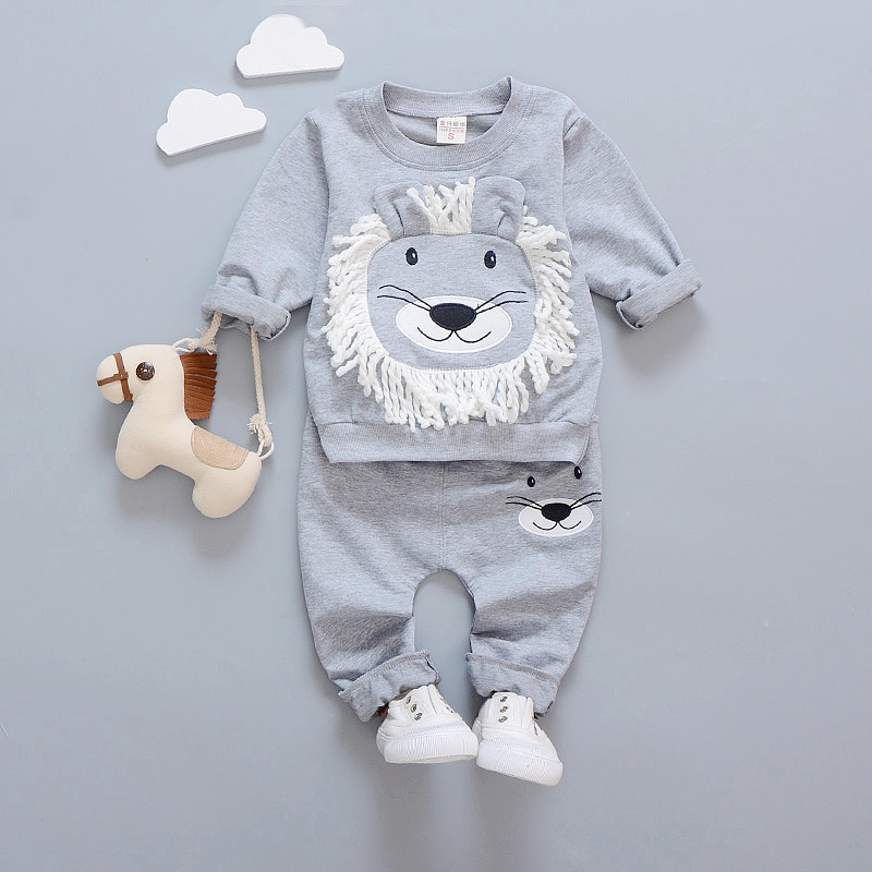 Kids Clothes Spring Autumn hoodies Baby Boys Girls Lion Pattern Cartoon Set Children Clothing Sets Child T-Shirt+Pants Suit samkoon display and control hmi touch screen sk 035ae 3 5 color tft new