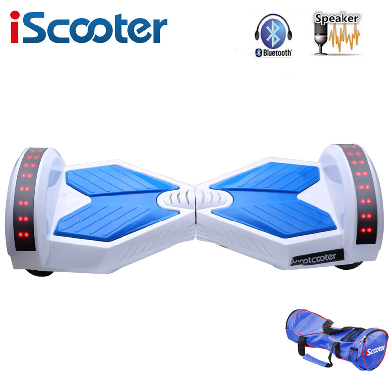 IScooter hoverboard 8 inch Bluetooth 2 Wheel Self balancing Electric Scooter two Smart Wheel with Remote key And LED Skateboard iscooter hoverboard 6 5 inch bluetooth and remote key two wheel self balance electric scooter skateboard electric hoverboard