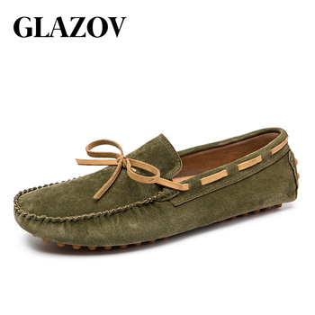 Designer Suede Leather Lace Up Men Casual Shoes High Quality Soft Mens Loafers Moccasins Italian Fashion Driving Shoes Big Size