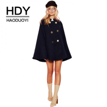 HDY Haoduoyi Fashion Solid Black Women Coat Double Breasted A-Line Female Causual Outwears Long Sleeve Lady Elegant Cape Coats(China)