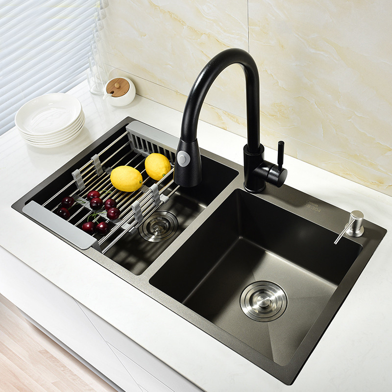 304 Stainless Steel Kitchen Sink  Washbas Double Bolw Groove Black Thickening Tank Basins In The Kitchen Two Water