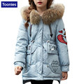 Pato Abajo Parques Para Cold Winter Popular Niños Gruesa Chaqueta con Cuello de Piel de prendas de Vestir Exteriores Carta Bordado Abrigos para-30 grados