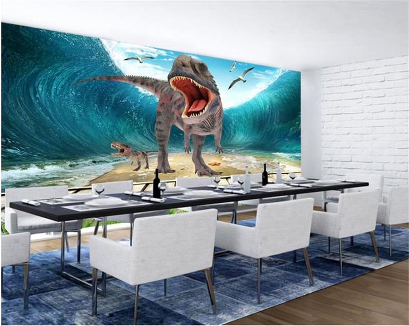 3d фото обои на заказ Гостиная Фреска нетканые стикер динозавров Ocean украшение картины Настенные обои для стен 3d