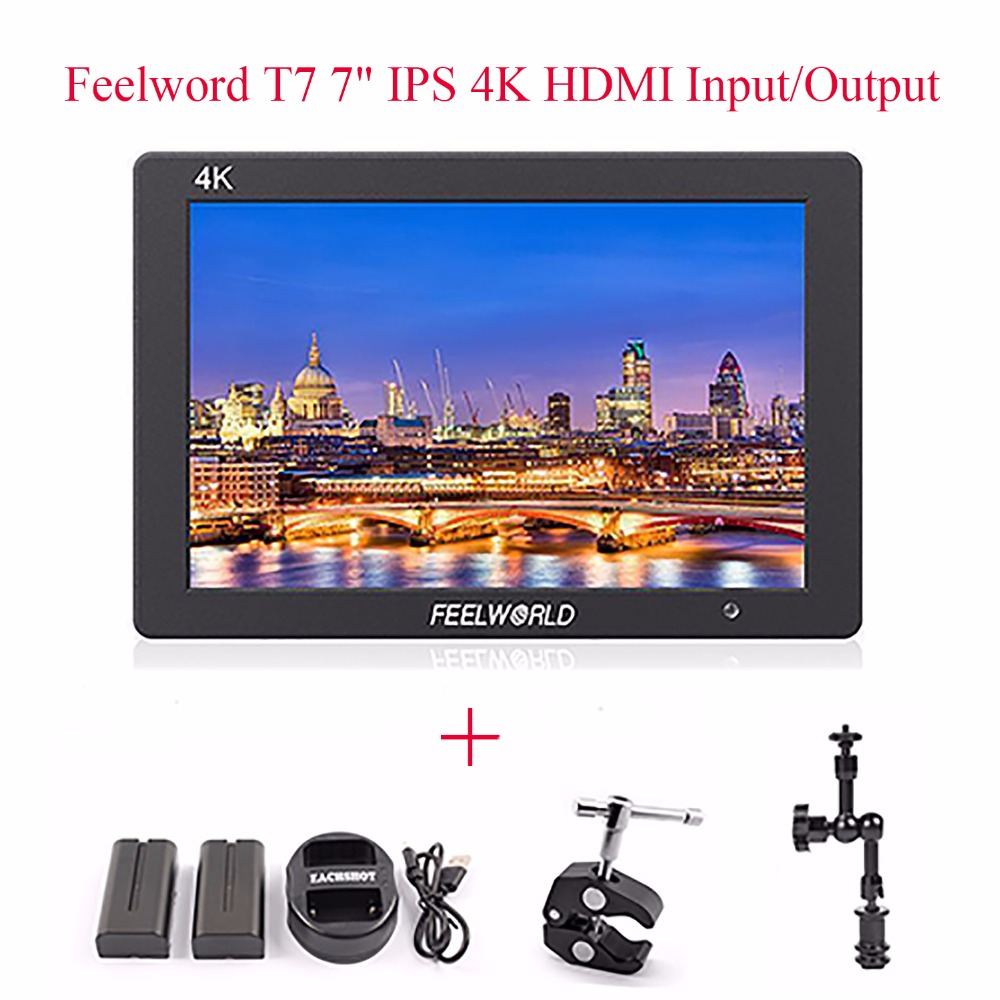 Feelworld T7 4K HDMI Input/Output On-Camera Monitor + Battery+charger+magic arm,Full HD 7IPS Screen Display Monitor for Camera