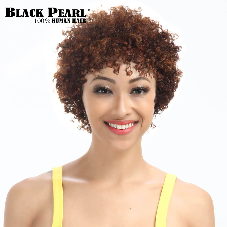 Black Pearl Short Curly Wigs For Black Women Remy Hair -4082