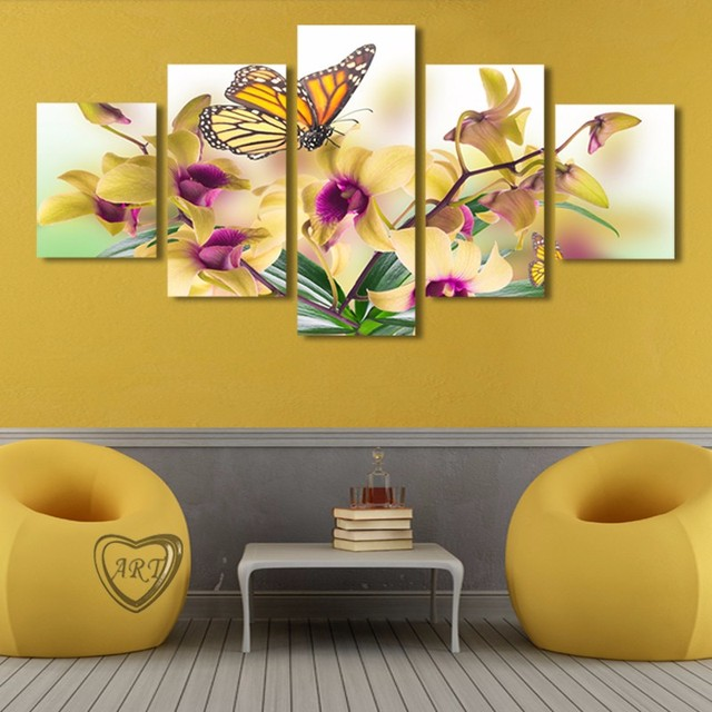 Aliexpress.com : Buy 5 PCS Butterfly floral 5D DIY Diamond Painting ...