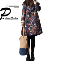 Women's Padded Cotton Oversized Floral Print Jumper Shirt Dress Ladies Winter Retro Thicken Cotton Long Sleeve Loose pullover