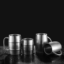 300ml/400ml Bamboo Barrel Shape Double Walled Stainless Steel Beer Vodka Mugs Cups Tea Coffee Camping Drinkware Tumbler