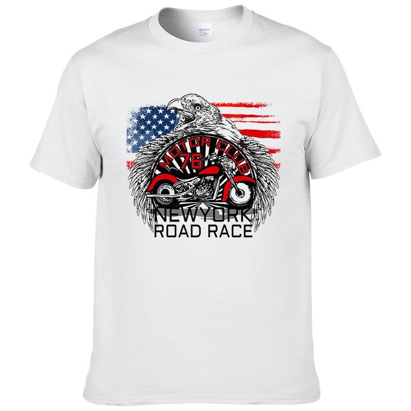 Estados Unidos Nueva York carretera motocicleta imprimir T camisa de los hombres de EE. UU. Bandera águila Camiseta de manga corta de algodón fresco Tee 5X