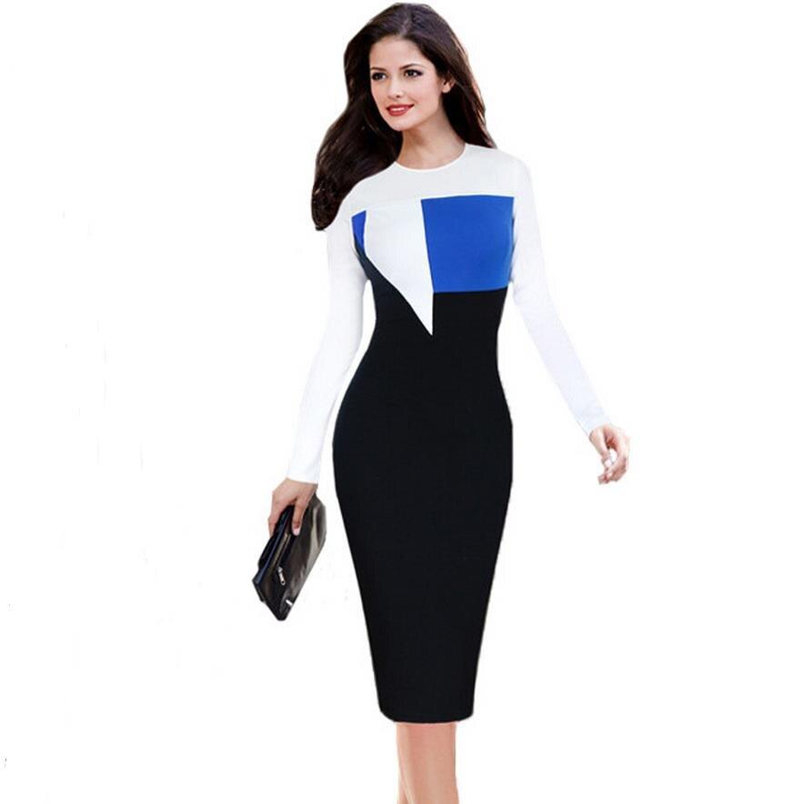 114b6e051408bc Vintage robe crayon femmes automne élégant Patchwork rouge bleu ...