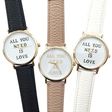 Hot Sales Popular Casual Women's Men's ALL YOU NEED IS LOVE Faux Leather Dial Analog Quartz Informal Wrist Watch NO181 5UYC