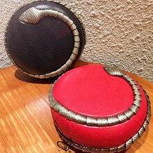 2016 Fashion Snake decorative circular stereo mini party snakeskin pattern clutch evening bag ladies handbag shoulder bag purse