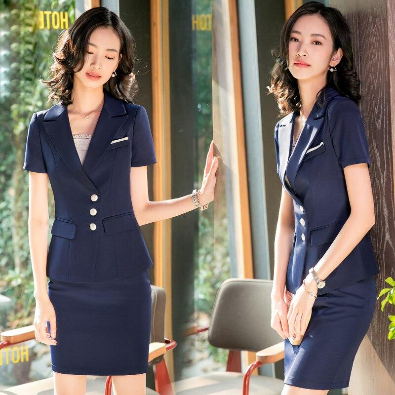 Angemessen Fashion Formal Büro Frauen Damen Uniform Business Karriere Frauen Blauen Dünner Blazer Anzüge Damen Rock Anzüge Elegant Mitarbeiter Zu Arbeiten
