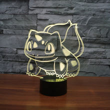 New Anime Kids Gift LED Colorful 3D Night Light with USB 3D Illusion Table Lighting Night Lamp Bulbasaur Lamp